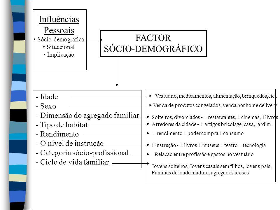 Influências Pessoais Sócio-demográfica Situacional Implicação FACTOR SÓCIO-DEMOGRÁFICO - Idade - Sexo - Dimensão do agregado familiar - Tipo de habitat - Rendimento - O nível de instrução - Categoria sócio-profissional - Ciclo de vida familiar Vestuário, medicamentos, alimentação, brinquedos,etc..