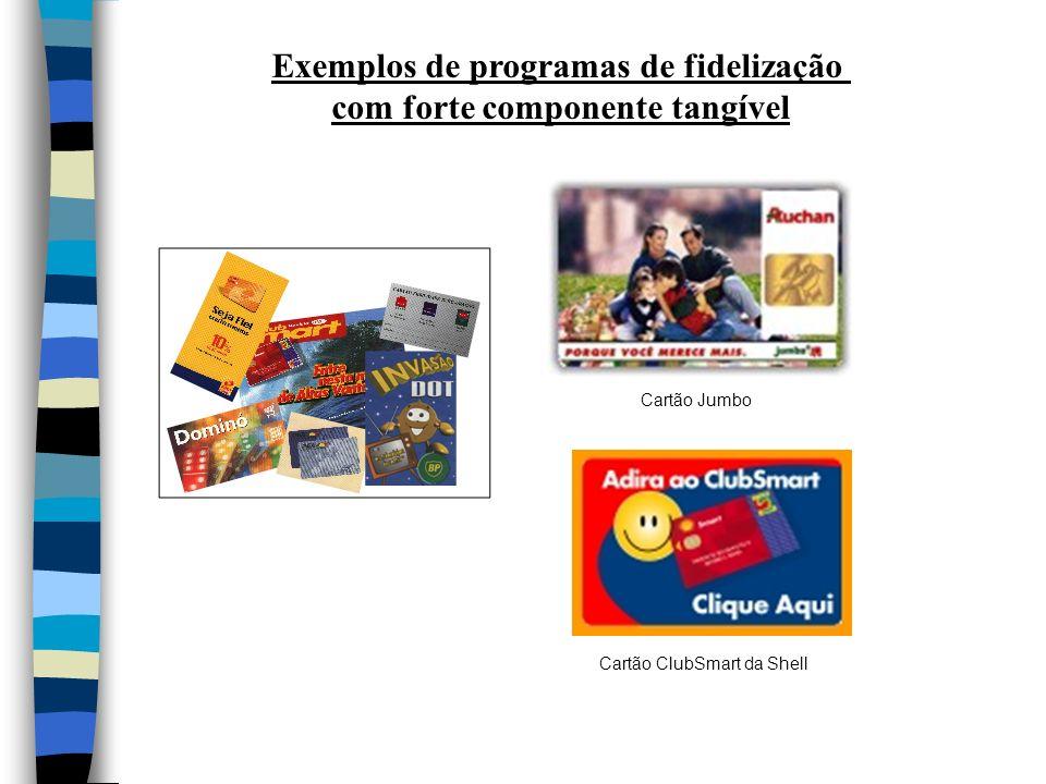 Exemplos de programas de fidelização com forte componente tangível Cartão Jumbo Cartão ClubSmart da Shell