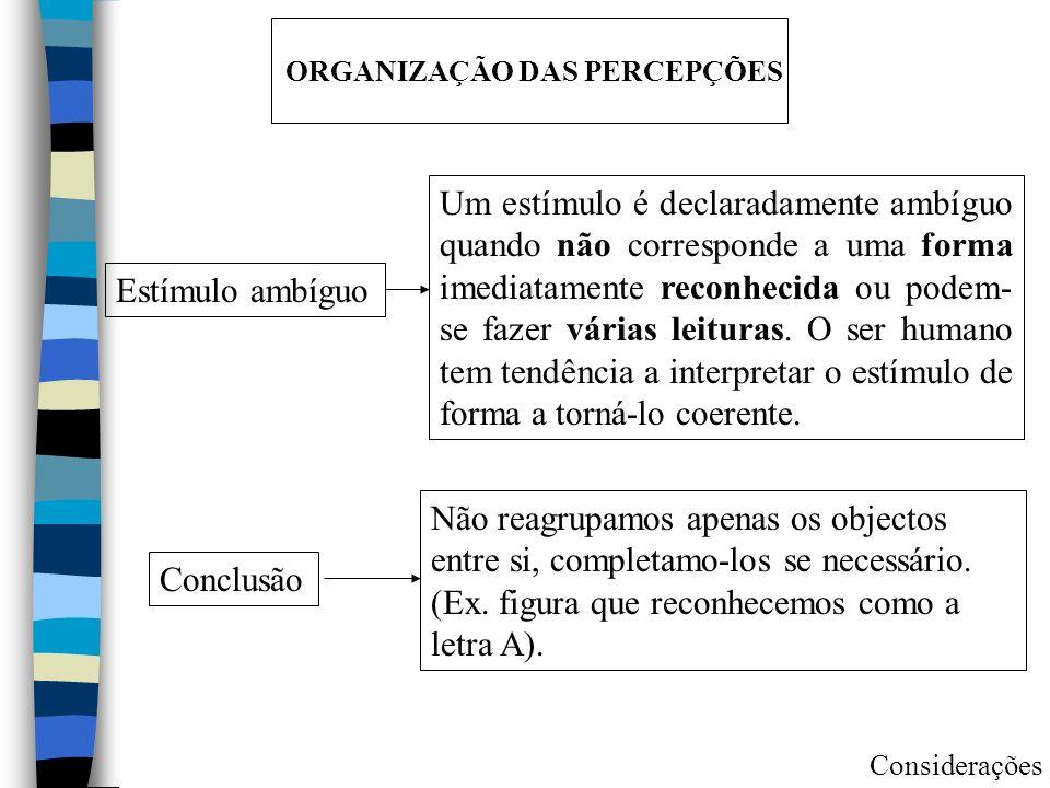 ORGANIZAÇÃO DAS PERCEPÇÕES Estímulo ambíguo Um estímulo é declaradamente ambíguo quando não corresponde a uma forma imediatamente reconhecida ou podem- se fazer várias leituras.