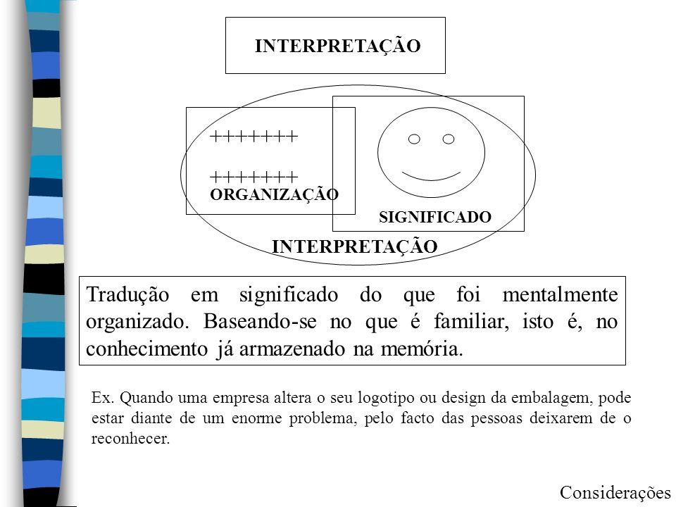 INTERPRETAÇÃO Tradução em significado do que foi mentalmente organizado. Baseando-se no que é familiar, isto é, no conhecimento já armazenado na memór