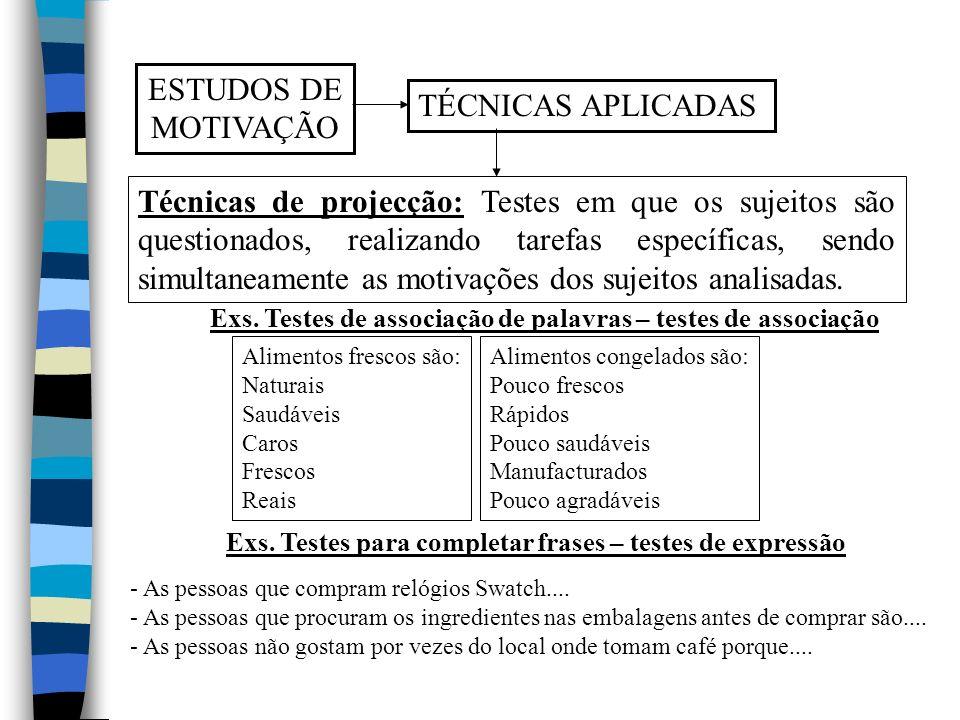 ESTUDOS DE MOTIVAÇÃO TÉCNICAS APLICADAS Técnicas de projecção: Testes em que os sujeitos são questionados, realizando tarefas específicas, sendo simultaneamente as motivações dos sujeitos analisadas.