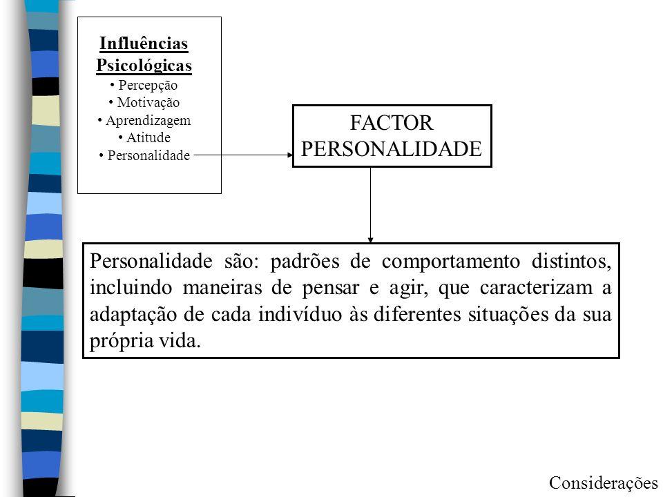 Influências Psicológicas Percepção Motivação Aprendizagem Atitude Personalidade FACTOR PERSONALIDADE Personalidade são: padrões de comportamento distintos, incluindo maneiras de pensar e agir, que caracterizam a adaptação de cada indivíduo às diferentes situações da sua própria vida.