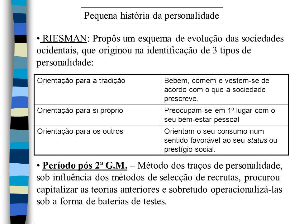 Pequena história da personalidade RIESMAN: Propôs um esquema de evolução das sociedades ocidentais, que originou na identificação de 3 tipos de person