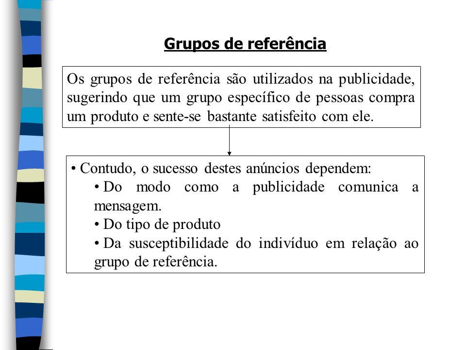 Grupos de referência Os grupos de referência são utilizados na publicidade, sugerindo que um grupo específico de pessoas compra um produto e sente-se bastante satisfeito com ele.