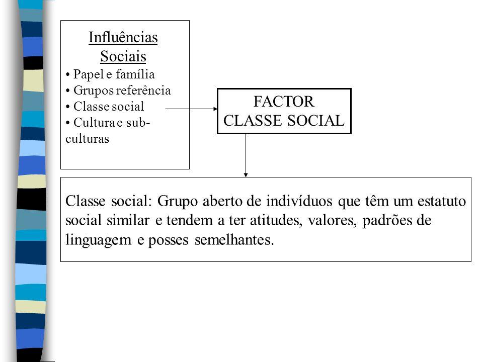 Influências Sociais Papel e família Grupos referência Classe social Cultura e sub- culturas FACTOR CLASSE SOCIAL Classe social: Grupo aberto de indivíduos que têm um estatuto social similar e tendem a ter atitudes, valores, padrões de linguagem e posses semelhantes.