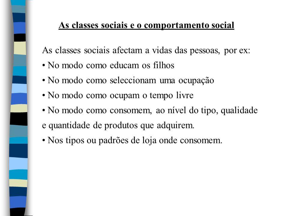 As classes sociais e o comportamento social As classes sociais afectam a vidas das pessoas, por ex: No modo como educam os filhos No modo como selecci