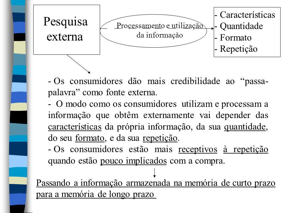 Pesquisa externa - Os consumidores dão mais credibilidade ao passa- palavra como fonte externa. - O modo como os consumidores utilizam e processam a i