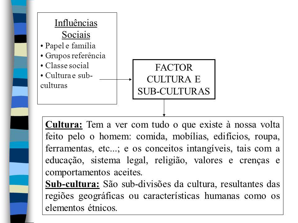 Influências Sociais Papel e família Grupos referência Classe social Cultura e sub- culturas FACTOR CULTURA E SUB-CULTURAS Cultura: Tem a ver com tudo