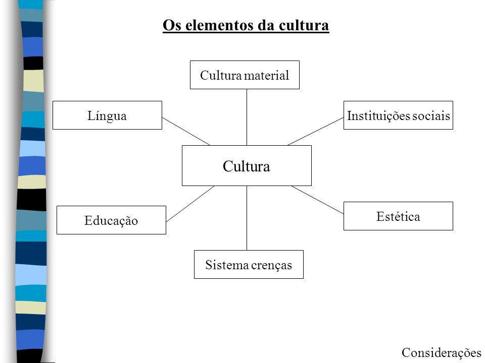 Cultura Cultura material Instituições sociais Estética Sistema crenças Educação Língua Os elementos da cultura Considerações