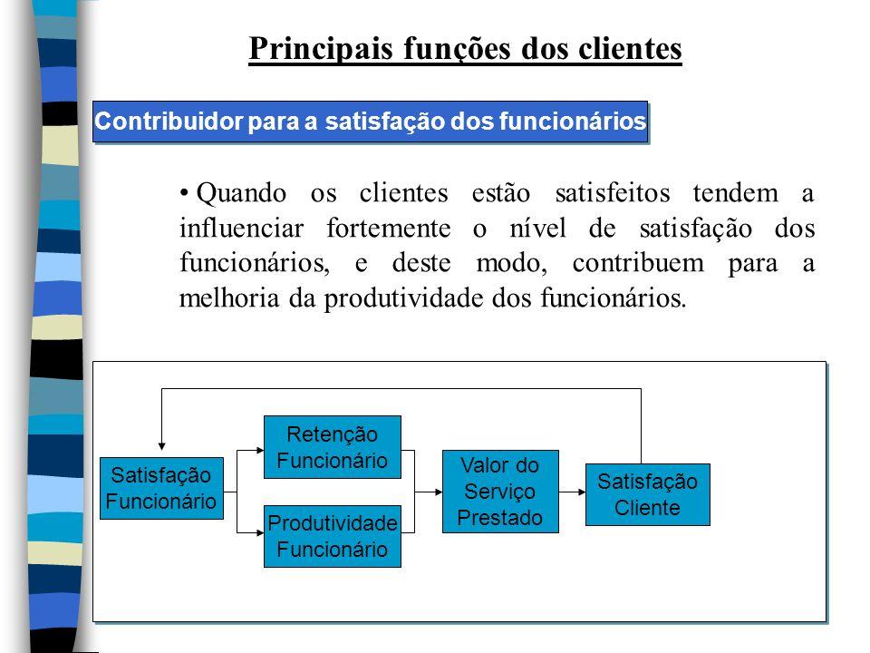 Principais funções dos clientes Quando os clientes estão satisfeitos tendem a influenciar fortemente o nível de satisfação dos funcionários, e deste modo, contribuem para a melhoria da produtividade dos funcionários.