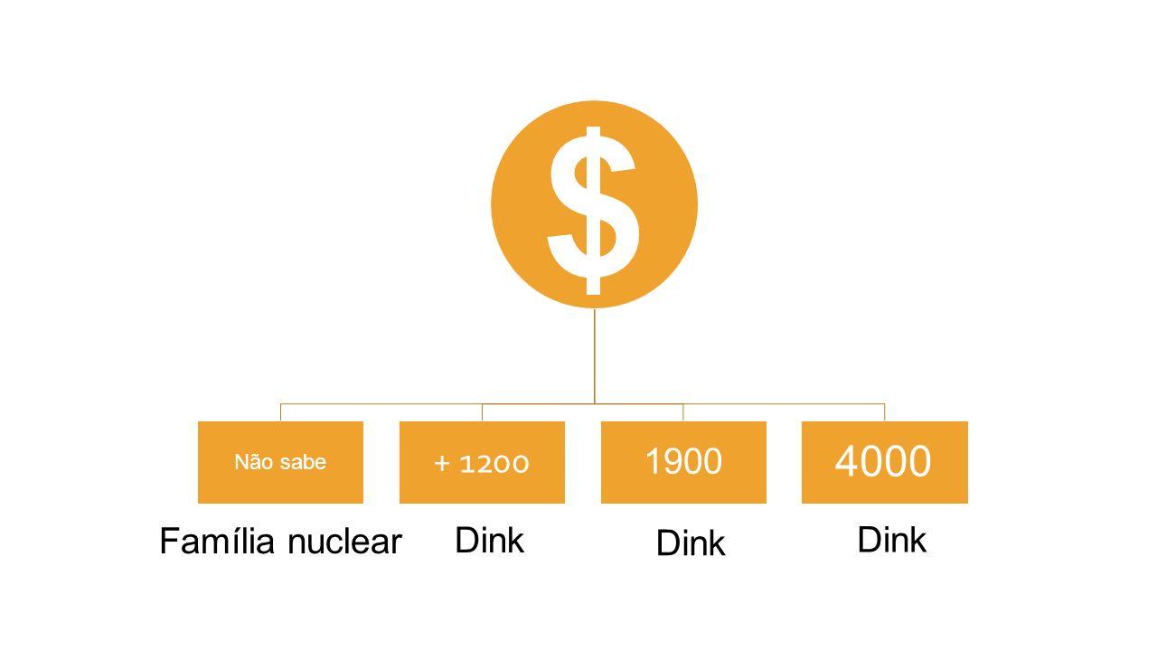 Não sabe + 1200 1900 4000 $ Dink Família nuclear