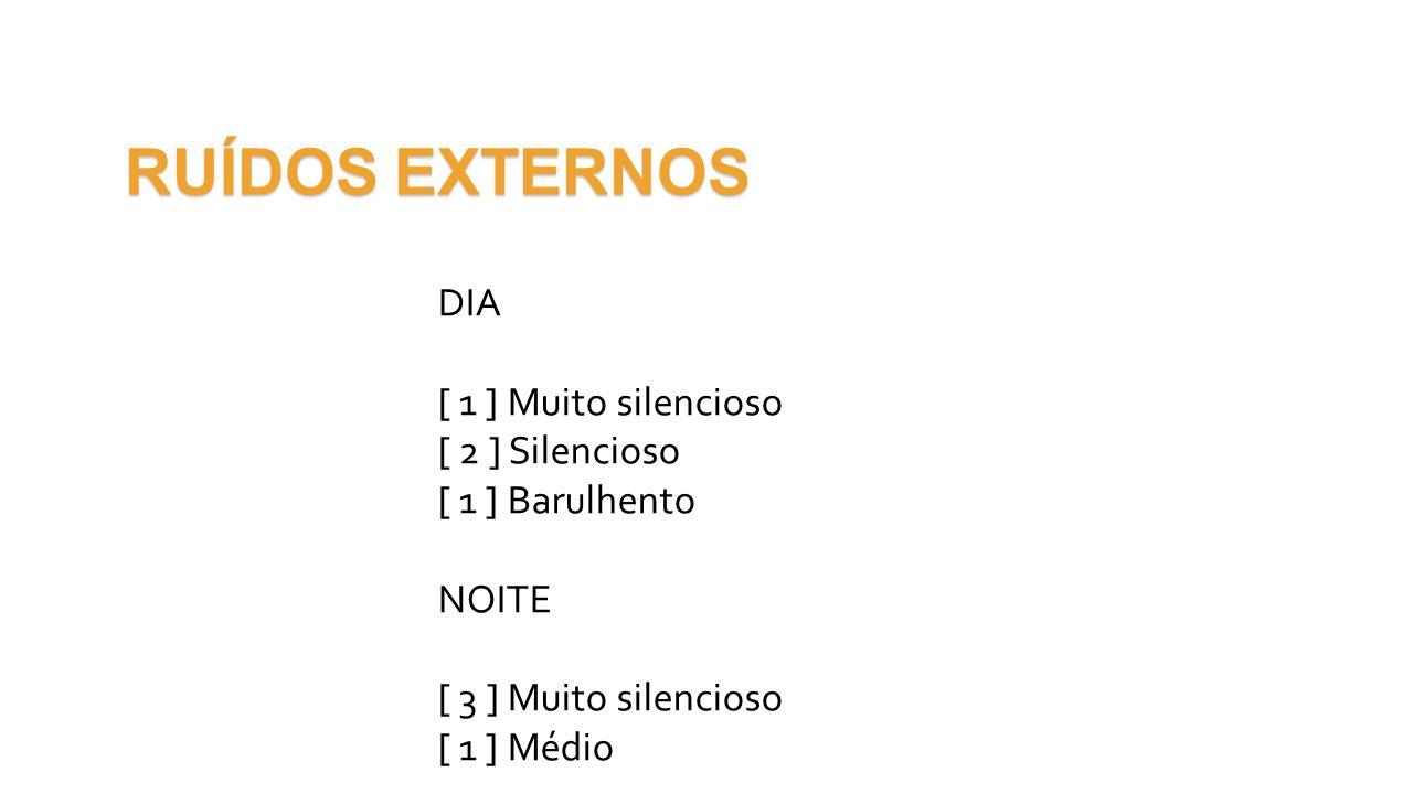 RUÍDOS EXTERNOS DIA [ 1 ] Muito silencioso [ 2 ] Silencioso [ 1 ] Barulhento NOITE [ 3 ] Muito silencioso [ 1 ] Médio