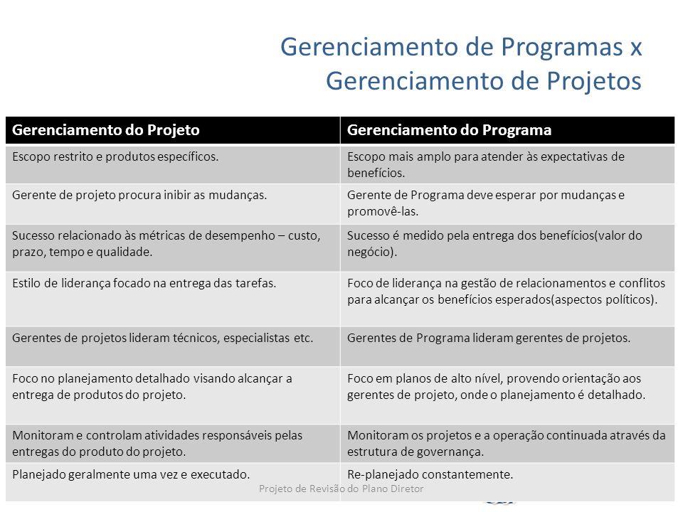 Gerenciamento de Programas x Gerenciamento de Projetos Gerenciamento do ProjetoGerenciamento do Programa Escopo restrito e produtos específicos.Escopo