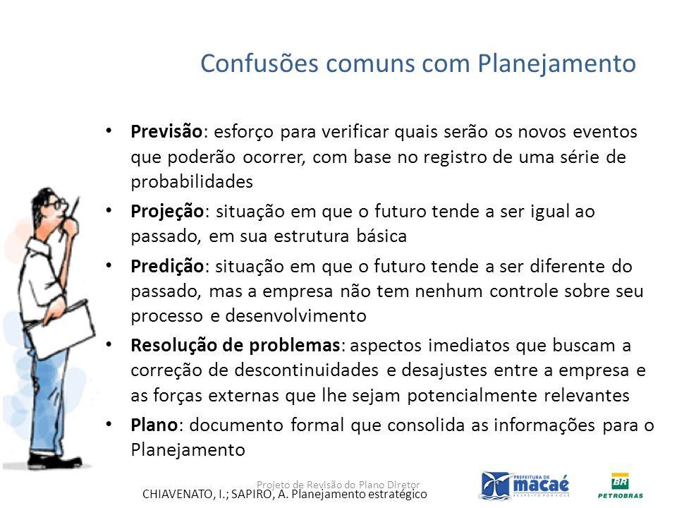 Confusões comuns com Planejamento Previsão: esforço para verificar quais serão os novos eventos que poderão ocorrer, com base no registro de uma série
