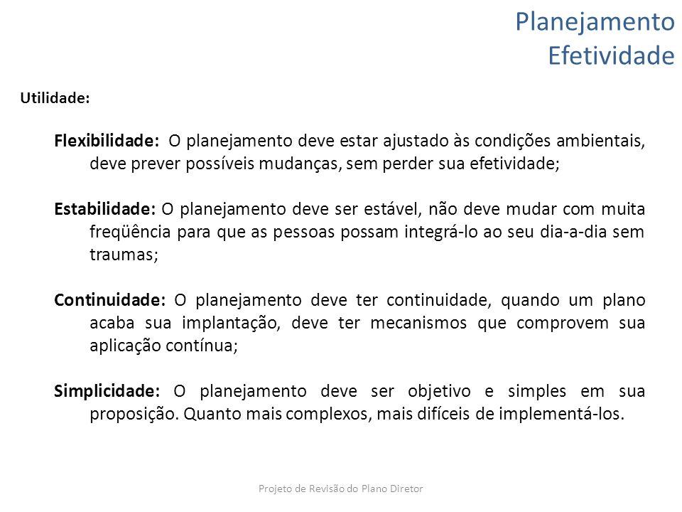 Planejamento Efetividade Utilidade: Flexibilidade: O planejamento deve estar ajustado às condições ambientais, deve prever possíveis mudanças, sem per