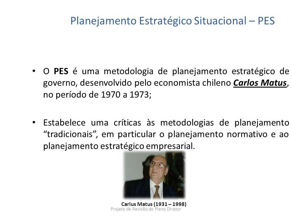 O PES é uma metodologia de planejamento estratégico de governo, desenvolvido pelo economista chileno Carlos Matus, no período de 1970 a 1973; Estabele