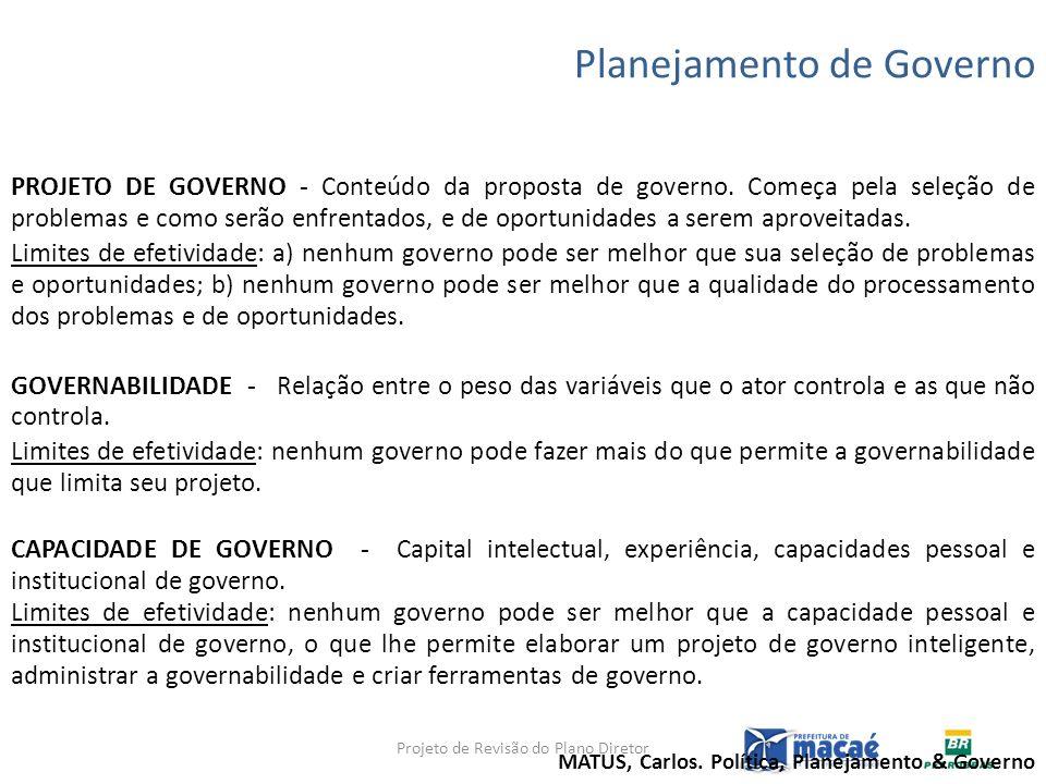 Planejamento de Governo PROJETO DE GOVERNO - Conteúdo da proposta de governo. Começa pela seleção de problemas e como serão enfrentados, e de oportuni
