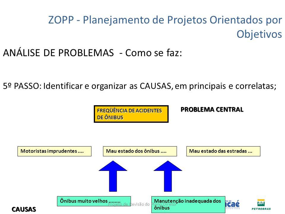 ANÁLISE DE PROBLEMAS - Como se faz: 5º PASSO: Identificar e organizar as CAUSAS, em principais e correlatas; ZOPP - Planejamento de Projetos Orientado