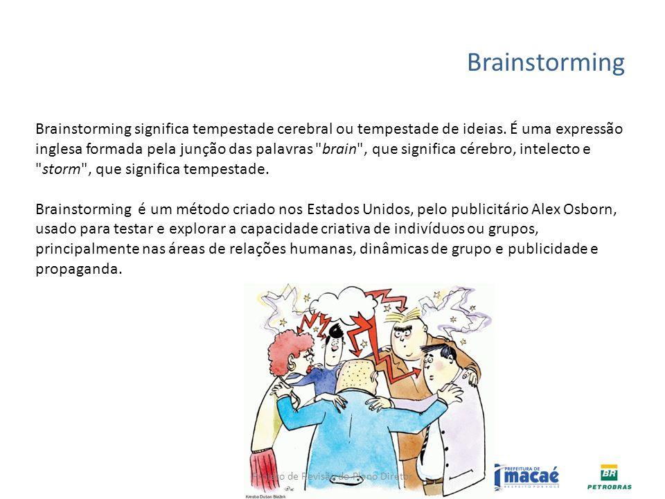 Brainstorming Brainstorming significa tempestade cerebral ou tempestade de ideias. É uma expressão inglesa formada pela junção das palavras