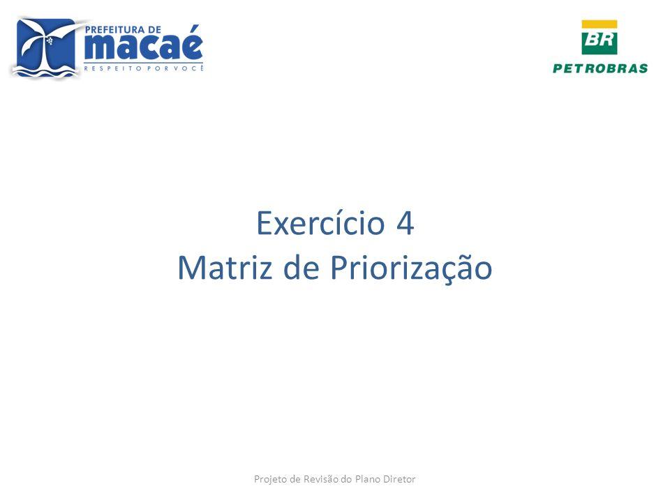 Exercício 4 Matriz de Priorização Projeto de Revisão do Plano Diretor