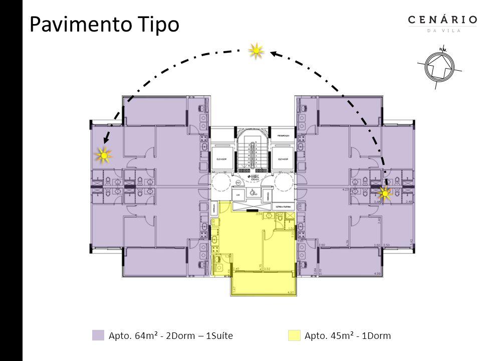 Pavimento Tipo Apto. 64m² - 2Dorm – 1SuíteApto. 45m² - 1Dorm
