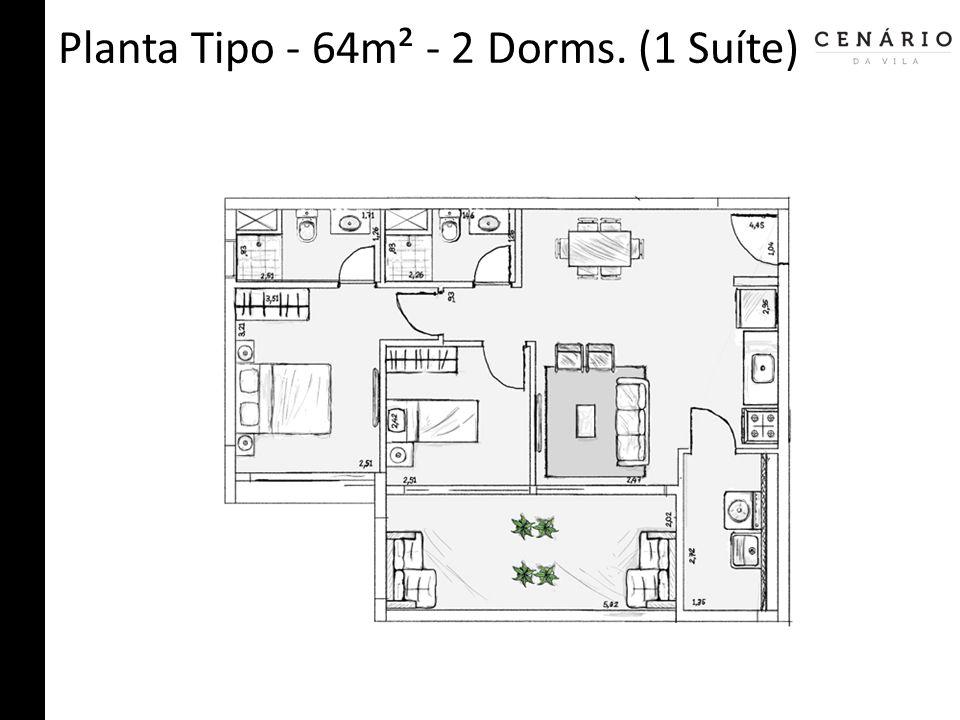 Planta Tipo - 64m² - 2 Dorms. (1 Suíte)