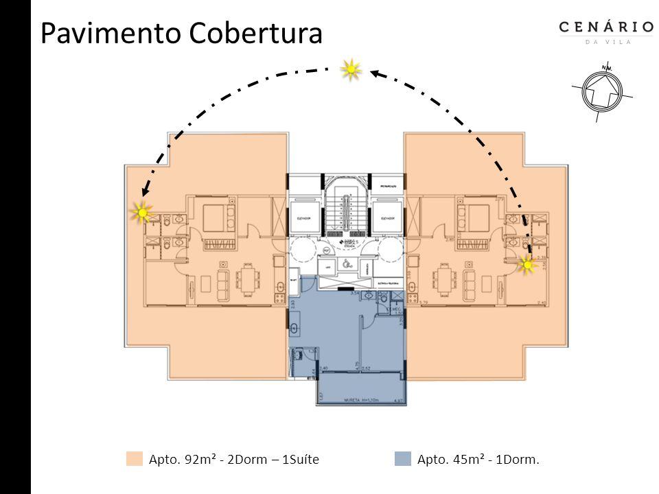 Pavimento Cobertura Apto. 92m² - 2Dorm – 1SuíteApto. 45m² - 1Dorm.