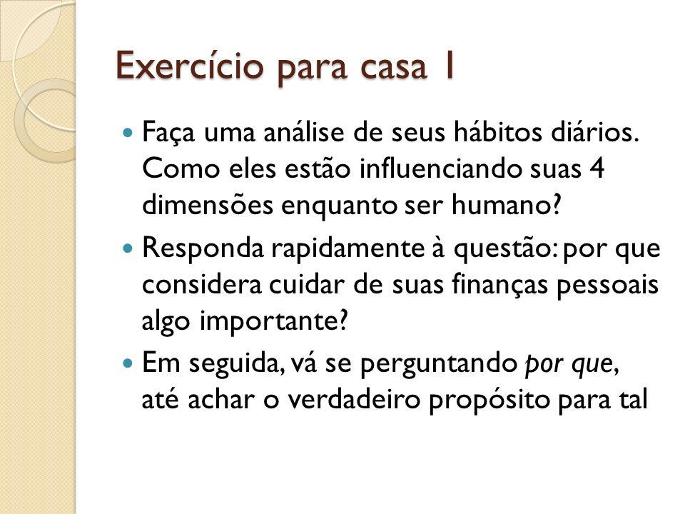 Exercício para casa 1 Faça uma análise de seus hábitos diários. Como eles estão influenciando suas 4 dimensões enquanto ser humano? Responda rapidamen