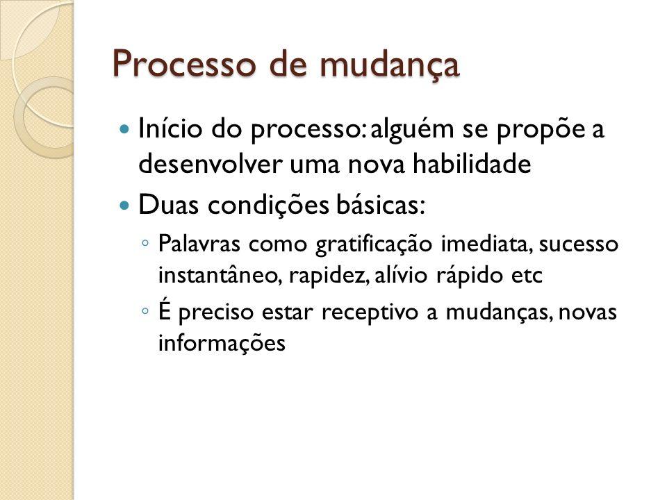 Processo de mudança Início do processo: alguém se propõe a desenvolver uma nova habilidade Duas condições básicas: Palavras como gratificação imediata