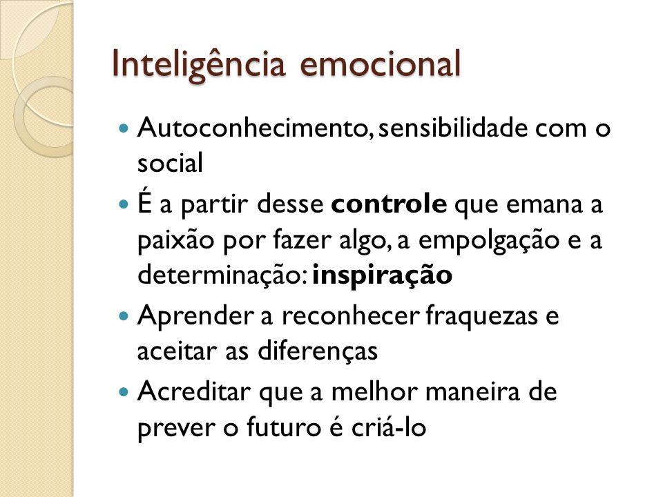 Inteligência emocional Autoconhecimento, sensibilidade com o social É a partir desse controle que emana a paixão por fazer algo, a empolgação e a dete
