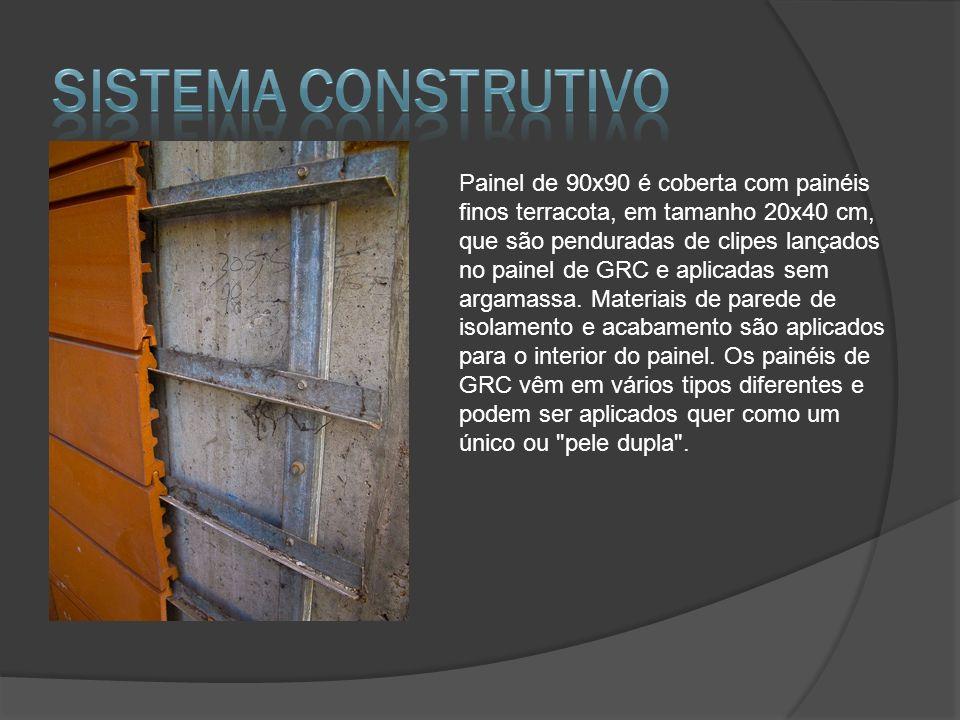 Painel de 90x90 é coberta com painéis finos terracota, em tamanho 20x40 cm, que são penduradas de clipes lançados no painel de GRC e aplicadas sem arg