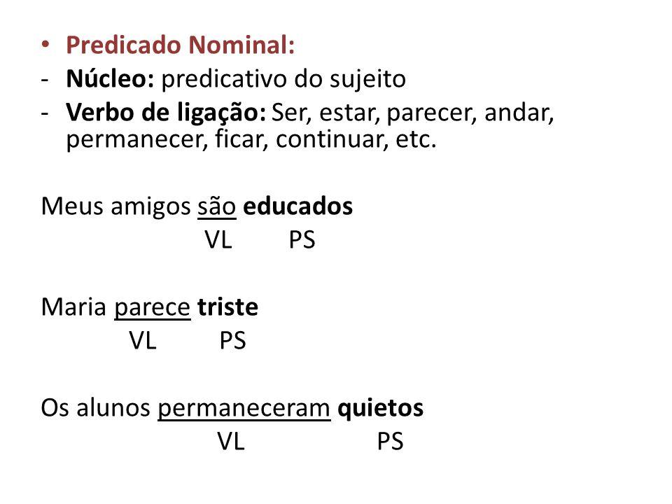 Predicado Nominal: -Núcleo: predicativo do sujeito -Verbo de ligação: Ser, estar, parecer, andar, permanecer, ficar, continuar, etc. Meus amigos são e