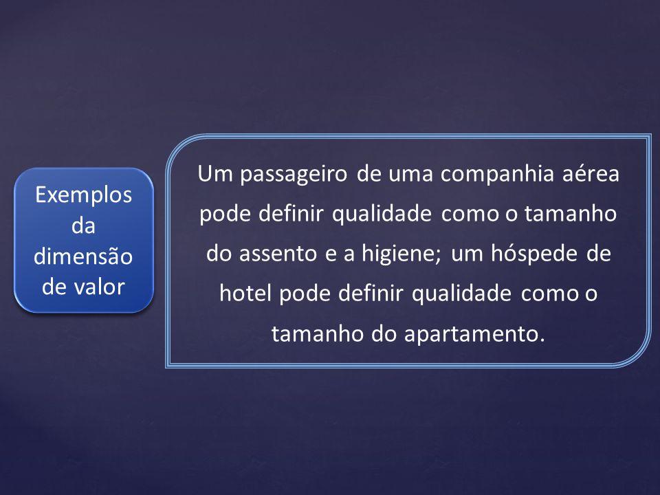 Um passageiro de uma companhia aérea pode definir qualidade como o tamanho do assento e a higiene; um hóspede de hotel pode definir qualidade como o t