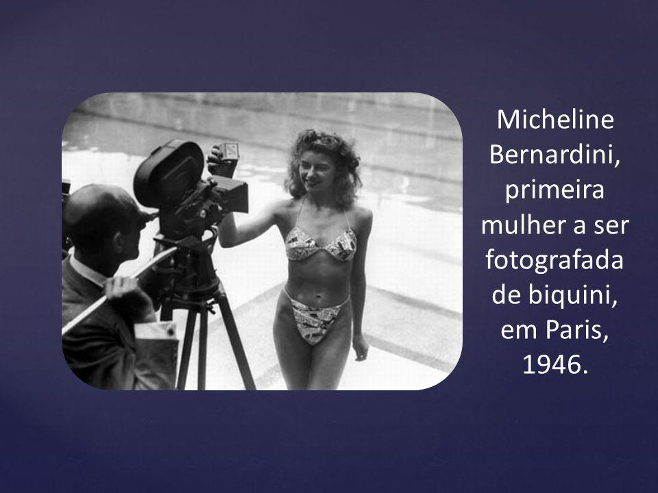 Micheline Bernardini, primeira mulher a ser fotografada de biquini, em Paris, 1946.