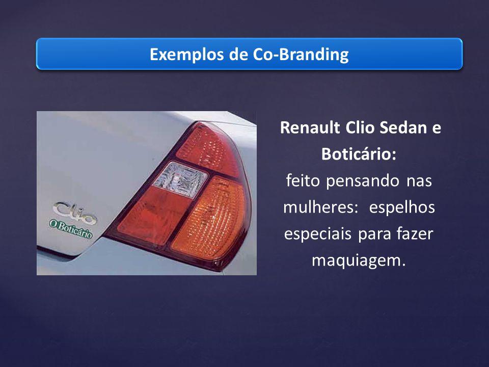 Exemplos de Co-Branding Renault Clio Sedan e Boticário: feito pensando nas mulheres: espelhos especiais para fazer maquiagem.