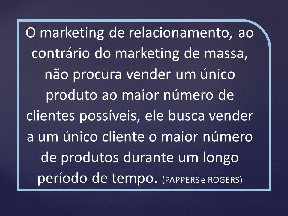 O marketing de relacionamento, ao contrário do marketing de massa, não procura vender um único produto ao maior número de clientes possíveis, ele busc
