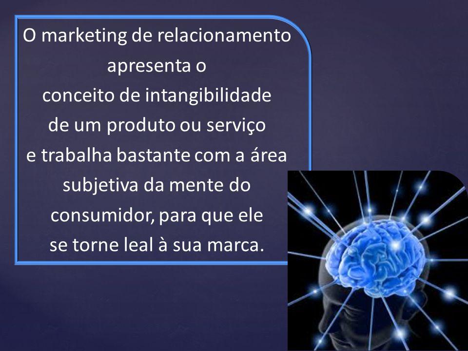 O marketing de relacionamento apresenta o conceito de intangibilidade de um produto ou serviço e trabalha bastante com a área subjetiva da mente do co