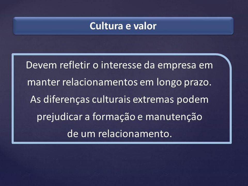 Cultura e valor Devem refletir o interesse da empresa em manter relacionamentos em longo prazo. As diferenças culturais extremas podem prejudicar a fo