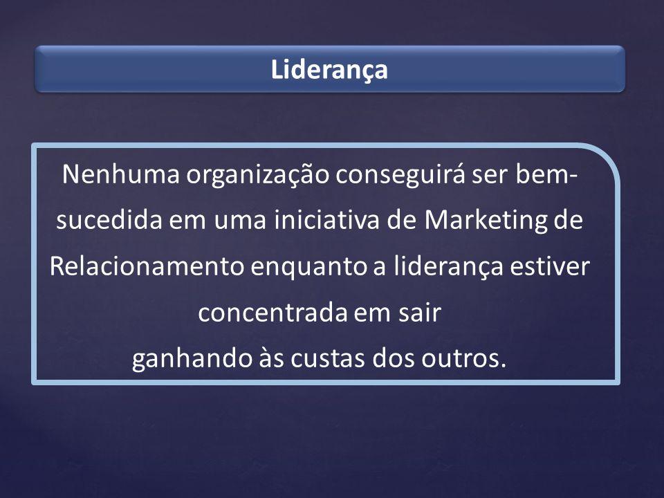 Liderança Nenhuma organização conseguirá ser bem- sucedida em uma iniciativa de Marketing de Relacionamento enquanto a liderança estiver concentrada e
