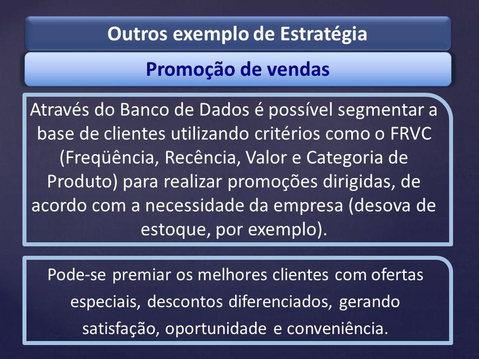 Promoção de vendas Outros exemplo de Estratégia Através do Banco de Dados é possível segmentar a base de clientes utilizando critérios como o FRVC (Fr
