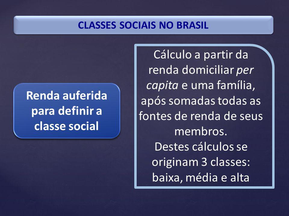 CLASSES SOCIAIS NO BRASIL Renda auferida para definir a classe social Cálculo a partir da renda domiciliar per capita e uma família, após somadas toda