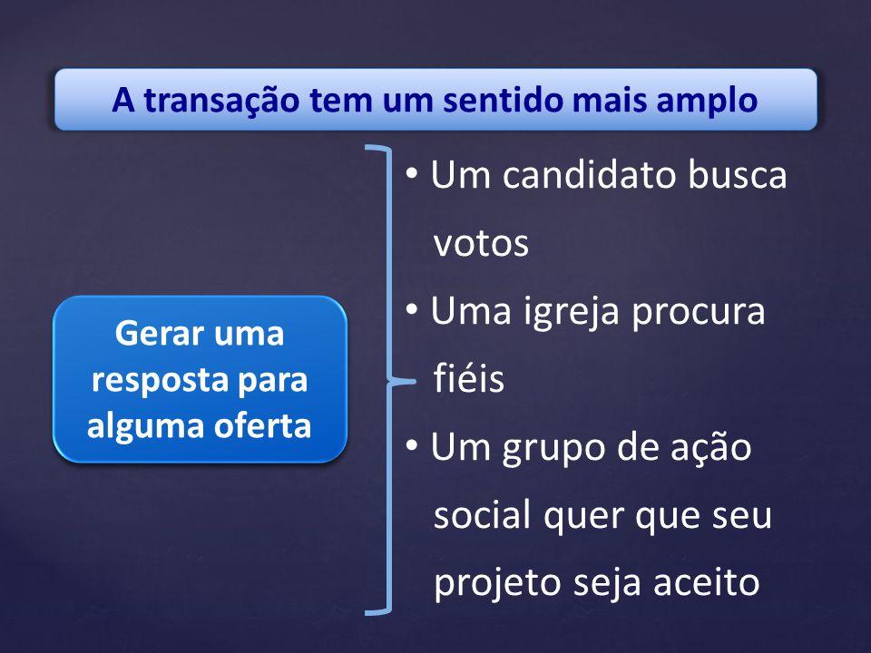 A transação tem um sentido mais amplo Gerar uma resposta para alguma oferta Um candidato busca votos Uma igreja procura fiéis Um grupo de ação social