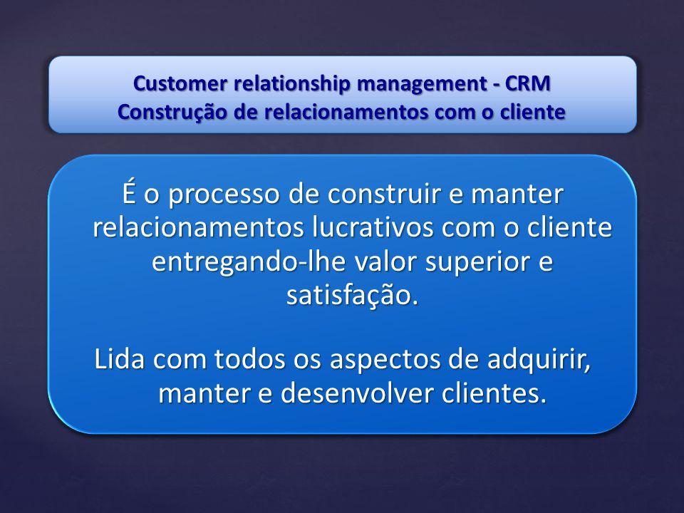 É o processo de construir e manter relacionamentos lucrativos com o cliente entregando-lhe valor superior e satisfação. Lida com todos os aspectos de