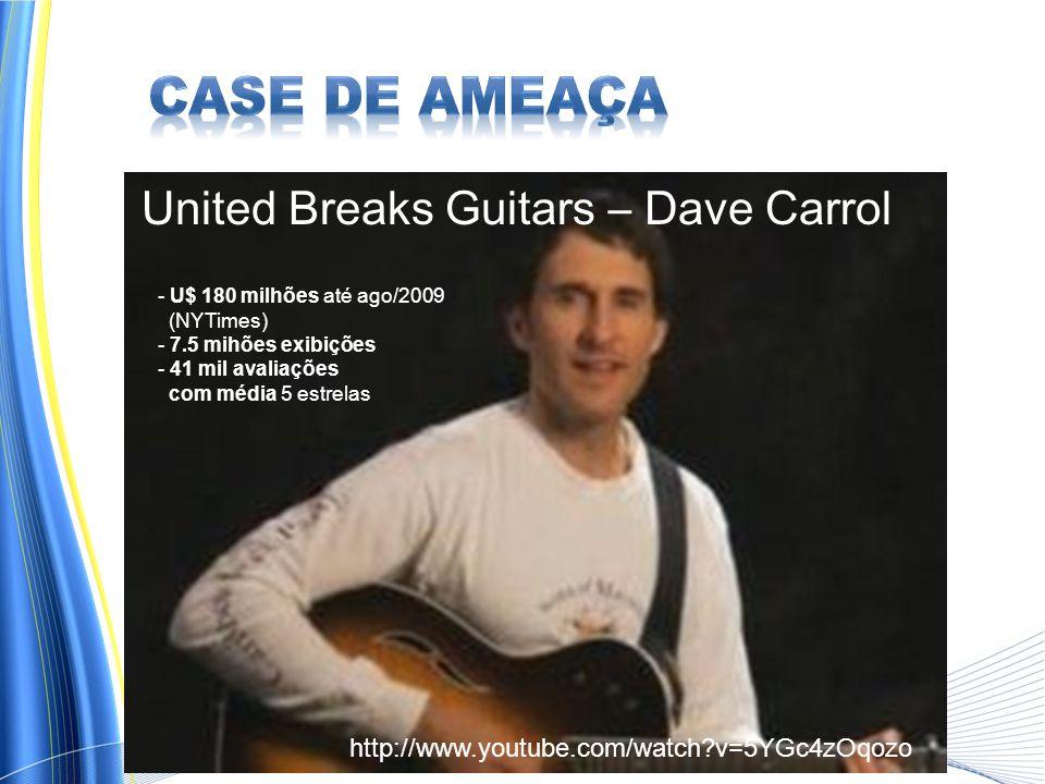 United Breaks Guitars – Dave Carrol - U$ 180 milhões até ago/2009 (NYTimes) - 7.5 mihões exibições - 41 mil avaliações com média 5 estrelas http://www