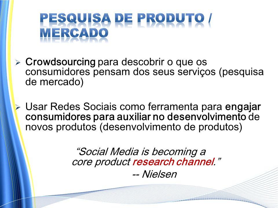 Crowdsourcing para descobrir o que os consumidores pensam dos seus serviços (pesquisa de mercado) Usar Redes Sociais como ferramenta para engajar consumidores para auxiliar no desenvolvimento de novos produtos (desenvolvimento de produtos) Social Media is becoming a core product research channel.
