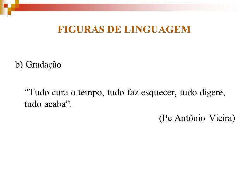 FIGURAS DE LINGUAGEM b) Gradação Tudo cura o tempo, tudo faz esquecer, tudo digere, tudo acaba. (Pe Antônio Vieira)
