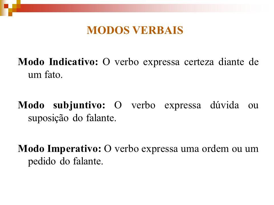 Modo Indicativo: O verbo expressa certeza diante de um fato. Modo subjuntivo: O verbo expressa dúvida ou suposição do falante. Modo Imperativo: O verb