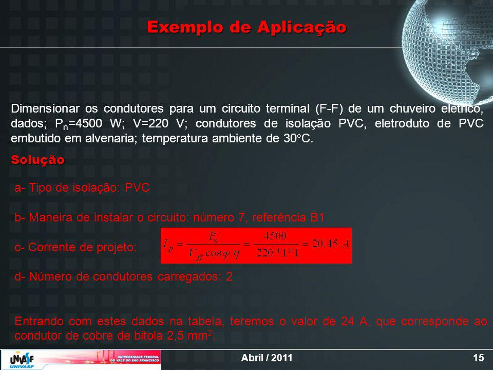 Abril / 201115 Exemplo de Aplicação Dimensionar os condutores para um circuito terminal (F-F) de um chuveiro elétrico, dados; P n =4500 W; V=220 V; condutores de isolação PVC, eletroduto de PVC embutido em alvenaria; temperatura ambiente de 30 C.