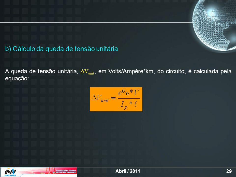 Abril / 201129 b) Cálculo da queda de tensão unitária A queda de tensão unitária, V unit, em Volts/Ampère*km, do circuito, é calculada pela equação:
