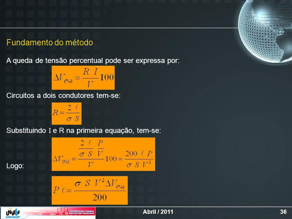 Abril / 201136 Fundamento do método A queda de tensão percentual pode ser expressa por: Circuitos a dois condutores tem-se: Substituindo I e R na primeira equação, tem-se: Logo: